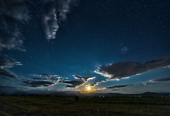 Moonrise at Bazaleti (Dimitri Goderdzishvili) Tags: moon night sky clouds grass green shadows blue yellow astro moonlight moonrise dawn stars star bazaleti nikon d610 tokina 1628 f28 nightscape landscape widefield hdr