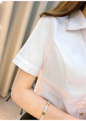 2016 Summer dress new size female white shirt with short sleeves short sleeves chiffon smock frock shirt professional fashion OL