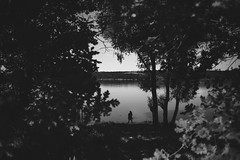 Ripping (noemi.m) Tags: nature lake girl monochrome blackandwhite trees oak silhouette shadow