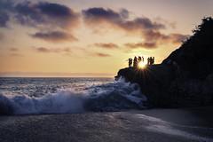 T H E  D I V E  [EXPLORED] 8.5.16 #65 (DesmondsPhotos) Tags: sunset sunrays sun beach clouds sky ocean waves cliff landscape seascape kids people a7rii