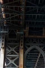 catwalks of the Brooklyn tower of Manhattan Bridge (molybdena) Tags: blue bridge newyorkcity rust manhattanbridge steel architecture newyork metal nyc