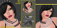 Contrast Pearls - BlackWhite Pack1 (XAnSA) Tags: life white black blackwhite necklace pearls sl secondlife second pearl contrasts gacha