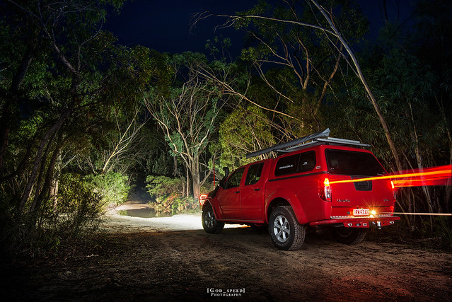 road camping trees sky nature wheel night forest dark landscape four lights drive twilight bush rainforest nissan natural dusk tail australia 4wd eerie headlights off creepy dirt discovery arb discover navara