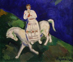 Cyprin Majernk, Girl on a White Horse, 1933, detail (DeBeer) Tags: horse art girl night painting 1930s museumofart gallery modernart fullmoon tragedy expressionism slovakia bratislava ballad whitehorse 1933 modernpainting 20thcenturyart naivestyle folkstyle pseudonaive 20thcenturypainting slovakart slovakpainting cyprinmajernk nedbalka
