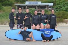 Notre groupe de surf à l'école Black Dog de Byron Bay