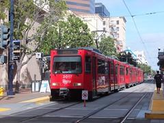San Diego 2017 2014 2006 Civic Center (Guy Arab UF) Tags: california light usa set san trolley siemens tram diego rail center 2006 vehicles civic streetcar trams articulated sd100 2014 2017