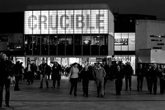 Leaving the Crucible at night (zawtowers) Tags: world white black monochrome sport typography 50mm mono evening championship theatre sheffield tournament round second april session lettering monday snooker 27th fifty crucible 2015 betfred worldsnookerchampionship thehomeofsnooker afsnikkor50mmf18g