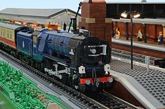 Tornado Awaits Departure from Platform 1 at Fareham (michaelgale) Tags: station train lego steam locomotive a1 tornado fareham peppercorn moc lner
