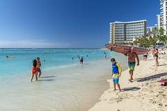 Waikiki Beach Scene (fotofrysk) Tags: usa sun beach water hawaii sand oahu tourists surfers honolulu hotels waikikibeach bathers sunworshippers nikond7100 201411233262