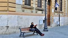 Jewish Ghetto (Vicente A. Roa) Tags: italy rome photo nikon europe candid streetphotography jewishghetto jewishflag bookreading roa kippa travelphotography d90 nikond90 viadelporticodottavia vicentearoa vicenteroa