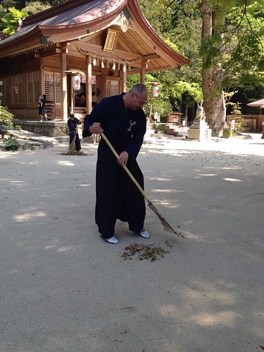 Raking Leaves at Kamado Shrine