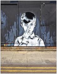 Graffiti (Zabou), East London, England. (Joseph O'Malley64) Tags: uk greatbritain england streetart london wall graffiti mural paint britain spray british walls cans aerosol eastend eastlondon wallmural portacabin muralist zabou