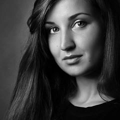 (Arina F) Tags: portrait blackandwhite bw girl face studio model noir