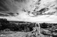 Pepperpot Hill (nigelhunter) Tags: pepperpot hill silverdale lancashire dog woman girl view landscape cloud sky morecambe bay coast tree embrace