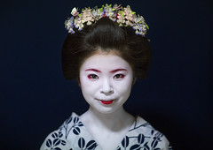 Portrait of a 16 years old maiko called chikasaya, Kansai region, Kyoto, Japan (Eric Lafforgue) Tags: portrait woman white beautiful beauty face japan horizontal closeup female hair asian japanese clothing eyes kyoto colorful asia pretty feminine painted young culture makeup front grace indoors teen maiko geisha teenager kimono gion tradition oriental youngadult solitary hairstyle youngwoman apprentice sparse oneperson confidence headwear elaborate kanzashi darkbackground lookingatcamera 1617years oneyoungwomanonly 1people japaneseethnicity colourpicture japan161929 chikasaya komayaokiya