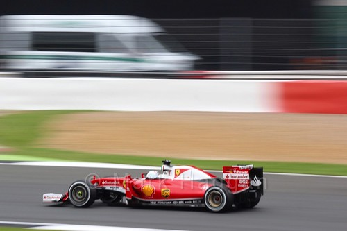 Sebastian Vettel in his Ferrari in Free Practice 3 at the 2016 British Grand Prix
