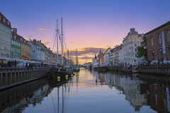 The first impression of Copenhagen (yuanxizhou) Tags: travel sunset summer sky color water architecture marina copenhagen denmark restaurant nyhavn boat site scenery europe tourists historical