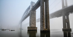 Bridges in the fog [ Explore ] (NikNak Allen) Tags: plymouth saltash cornwall devon water fog foggy low bridge bridges roadbridge trainbridge brunel boat boats shadow reflection brick metal weather