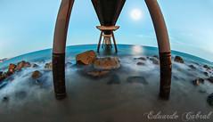 Pont del Petroli 6249b (Eduardo_Cabral) Tags: pontdelpetroli badalona barcelona catalunya catalua atardecer sunset longexposure longexposurephotography largaexposicin luiseduardocabralgopar canoneos6d canonef815mmf4lfisheyeusm playa beach