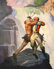 """The Battle at Glens Falls"" by N. C. Wyeth from ""The Last of the Mohicans"" by James Fenimore Cooper. NY: Scribner's, 1919. First edition (lhboudreau) Tags: book books hardcover hardcovers hardcoverbook hardcoverbooks vintagebook vintagebooks classicbook classicbooks classicnovel classicstory art artist illustrator illustrated illustration illustrations drawing drawings illustratedbook illustratedbooks illustratedclassics bookart wyeth ncwyeth 1919 illustratedclassic vintageillustration vintageillustrations classicillustrator classicillustrations vintagebookillustrations vintagebookillustration lastofthemohicans mohicans thelastofthemohicans cooper jamesfenimorecooper fenimore uncas frenchandindianwar 1757 nattybumppo hawkeye chingachgook americanindian americanindians nativeamerican nativeamericans indians indian charlesscribnerssons scribners charlesscribners firstedition fiction battle fight glensfalls waterfall waterfalls falls"