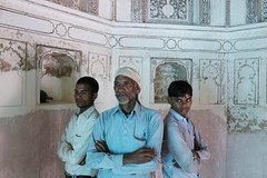 A Portrait of The Delhi Walla as a Stone Carver With His Two Stone Carver Sons (Mayank Austen Soofi) Tags: delhi walla a portrait the stone carver with his two sons