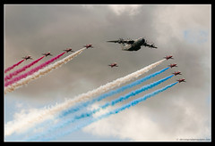 AIRBUS A400M & RED ARROWS. 3 (adriangeephotography) Tags: adriangeephotography adrian gee photography nikon d300 aircraft airshow airplane airport display flying military civil aviation jet propeller turboprop fighter transport formation sigma 150600 sport helicopter farnborough 2016 sunday hampshire