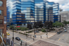 Pedestrians in the Itty-Bitty-City (Sharky.pics) Tags: urban city wisconsin tiltshift july cityscape 2016 miniature milwaukee downtown