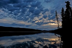 BIg Fox Lake Blue Hour (MIKOFOX  Show Your EXIF!) Tags: canada reflection bigfoxlake waterlake fujifilmxt1 yukon spruce july landscape hills xt1 showyourexif summer clouds mikofox xf18135mmf3556rlmoiswr
