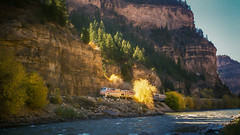 Amtrak Desert Wind..... (Schoonmaker III) Tags: train amtrak railroad westernrailroad colorado glenwoodcanyoncolorado coloradoriver passengertrain film scannedphoto