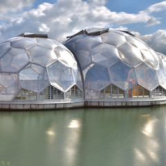 Living Sphere (Franklin Vincentie) Tags: house sphere architecture floating water port future football rotterdam netherlands rijnhaven