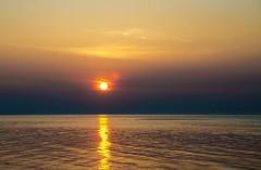 sunset (Rikke Roger Reif) Tags: longexposure pink blue sunset orange sun color reflection beach water denmark eveningsun horizon sandbanks magicmoment magiclight purpel fjellerupstrand