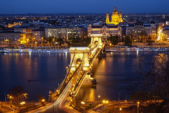 Budapest (beautifulamnesia) Tags: longexposure travel bridge night golden europe colours basilica budapest bluehour ststephens ststephen chainbridge szchenyi