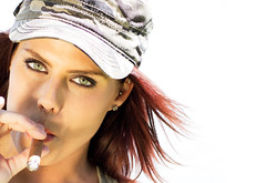 Whiskey Rock-A-Roller (hvitingi) Tags: beautiful sony cigar camo greeneyes camouflage mascara redhair marcie prettygirl macanudo lynyrdskynyrd camohat girlsmoking outdoorportrait cigargirl goldreflector camouflagehat smokinredhead supermodelmarcie macanudocigar