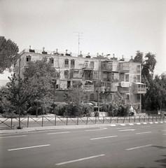 Ramat Eshkol, Jerusalem (Gabriela Gleizer) Tags: street old urban mamiya film architecture analog square religious israel kodak tmax decay jerusalem grain neighborhood jewish medium format 100 28 ramat 80mm c330 eshkol