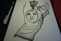 Sketch 002 (Sellanes Sketch Journal) Tags: sketch drawing ink muslim women sellanes journal dibujo streetlamp communism propaganda soviet pen inkart