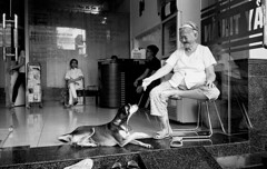 Woman and her Dog (H_H_Photography) Tags: vietnam travel analog dog friends friend woman oldwoman old film filmphotography street candid olympus xa olympusxa trix mekong delta mekongdelta cantho can tho