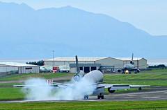 KC-10A Extender landing at Prestwick (EGPK) Scotland (Allan Durward) Tags: pik egpk prestwick glasgow scotland prestwickairport glasgowprestwick prestwickscotland kc10a extender tanker dc10 douglas mcdonnelldouglas usaf 830081 touchdown landing smoke smokey