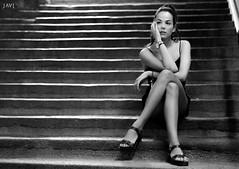 Klara (JaviJ.com) Tags: portrait girl beauty street night fashion woman style white espaa model black makeup spain stairs madrid calle negro moda retrato modelo chica mujer blanco noche maquillaje y escaleras estilo