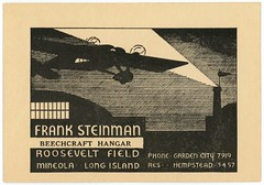 Frank Steinman, Beechcraft Hangar, Roosevelt Field, Mineola, Long Island, New York (Alan Mays) Tags: ephemera businesscards advertising advertisements ads cards names paper printed franksteinman steinman aviators pilots beechcrafthangar beechcraft hangars rooseveltfield airfields airports airplanes aircraft planes propellers wings flights aerodromebeacons rotatingbeacons beacons lights windsocks night nighttime illustrations gardencity hempstead longisland mineola ny newyork 1930s antique old vintage typefaces type typography fonts