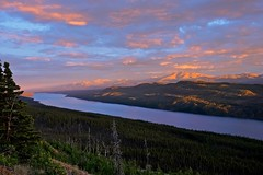 Night after Solstice (MIKOFOX  Show Your EXIF!) Tags: sunset summer sky lake canada mountains water june clouds forest landscape yukon spruce midnightsun xt1 minersrange bigfoxlake fujifilmxt1 xf18135mmf3556rlmoiswr mikofox