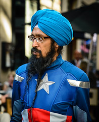The New 'Politically Correct' Captain America (Paco_X) Tags: captainamerica pc politicalcorrectness turban rnc republicannationalconvention cleveland costume star