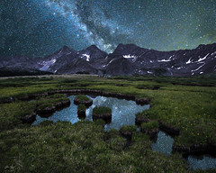 Milky Way Reflection over the Three Apostles (Aaron Spong Fine Art) Tags: milky way photogrpahy composite three apostles sawatch range collegiate peaks wilderness colorado pools reflections reflection sky night stars starry star filled twinkle continental divide leadville buena vista wow