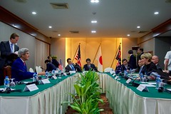 Secretary Kerry Chats With Australian Foreign Minister Julie Bishop at the Lao Plaza Hotel  in Vientiane (U.S. Department of State) Tags: johnkerry laos vientiane asean associationofsoutheastasiannations juliebishop