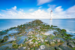 Sea Defence 2 (WilliamJW46) Tags: sea defence moss rocks longexposure clouds wirral newbrighton lighthouse water ocean blue liverpool merseyside leebigstopper