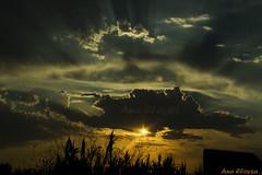 Atardecer nublado (Ana Eloysa) Tags: atardecer atardece nubes nube rayos rayosdesol sol luz silueta naranja anaeloysa aeloysa zaragoza zgz cielo serenidad airelibre