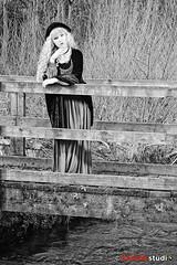 Saxon Studio Sandbach - Studio Lighting Workshop - Stevie Nicks and the 1970's Theme with Miss Rosie Lea (Peter J Bailey - Saxon Studio) Tags: saxon studio sandbach lighting workshop tuition course photography peterjbailey photoshoot portrait stevienicks 1970s miss rosie lea red dress black hat outdoor wooden bridge stream river location fashion
