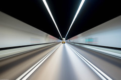 Endless Tunnel (indleaf) Tags: hong kong road tunnel blue lines white black