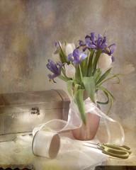 May Bouquet (lclower19) Tags: pink iris stilllife white green texture purple box may scissors tulip vase flashlight ribbon lc lightpainted ahsi bestill52