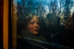 . (Violet Kashi) Tags: trees light sunset color reflection window girl train germany fujifilm x100s