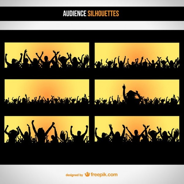 Audience Silhouette Set Free Vector